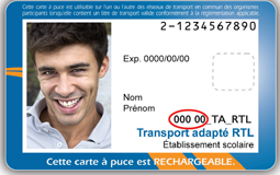 Photo de carte OPUS de transport adapté.