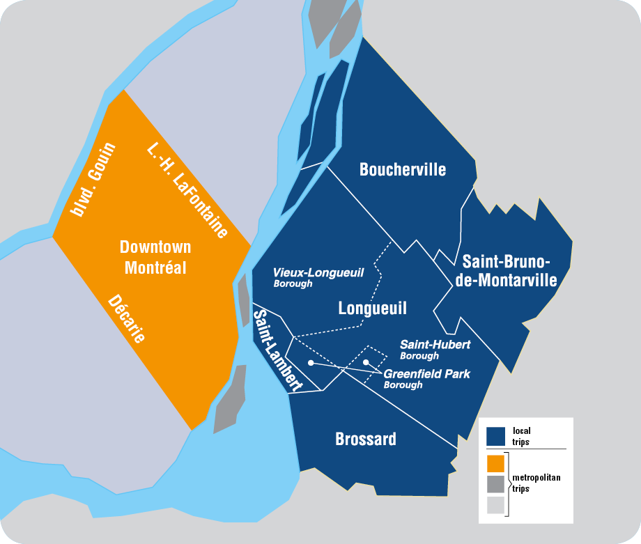 The map of the serviced territory that includes: Boucherville, Brossard, Longueuil, Saint-Bruno-de-Montarville and Saint-Lambert.
